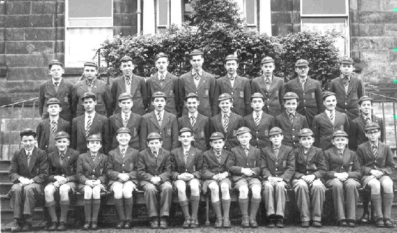 Class Photo 2.JPG - Class photo which includes Francis Malcolm, can you name the other classmates? There has been some confusion over this photo, the original names (listed below) where wrongly associated with this photo. Does anyone know which photo these names should be shown against? Please let me know. Back Row:- Andrew Robertson, Phil Docherty, Eddie Stone, Ludwig Chrzaszcz, Brendan Foley, Frank Strathie, Pete Scholfield, Ron Kingham. Front Row:- Jimmy Barrett, Richard Devlin, Gerry Minchella, phil Smith, pete Nicol, Danny Gibbons, John Shaw, John Curran, Ally Lawson, James Robertson, BrianConlon. Thanks to Peter Scholfield for providing the names.