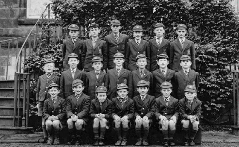 Class Photo 5.JPG - Primary 6 class with John Barry, 1955-56 Names supplied by Hugh Pettigrew From the top left, ?,?,Brian Cochran,?,?,Peter Taylor ? ?,?,John Coyle,?,Bernard Wynn Williams, Brian Velsian,Hugh Pettigrew, John Barry,Dominic Scott,Kevan McClochan,Peter Mc Kecknie,?,Willie Craven,Mike Donoghue.
