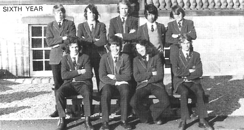Class Photo Sixth Year 1974.jpg - 6th year 1974.Michael Collie, Iain Mackay, Richard Edie, James Wee, Michael KostryckyjPaul Doherty, Mark Shannon, George McGuire, John (Riki) BartholomewNames supplied by Riki.