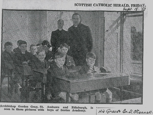 Classrooom in 53.jpg - Archbishop Gordon Gray in one of the classrooms shortly after the school opened. Picture from the Scottish Catholic Herald in Sept 1953.