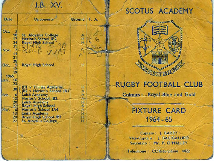 FixtureCard1.jpg - Rugby Fixture Card from season 1964-65.  Supplied by Joe Barry.