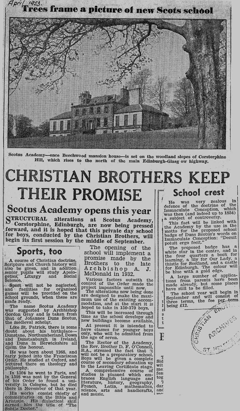 promise kept.jpg - Newspaper cutting from April 1953, giving a bit of the history behind the Brothers' commitment to open a Scottish school.