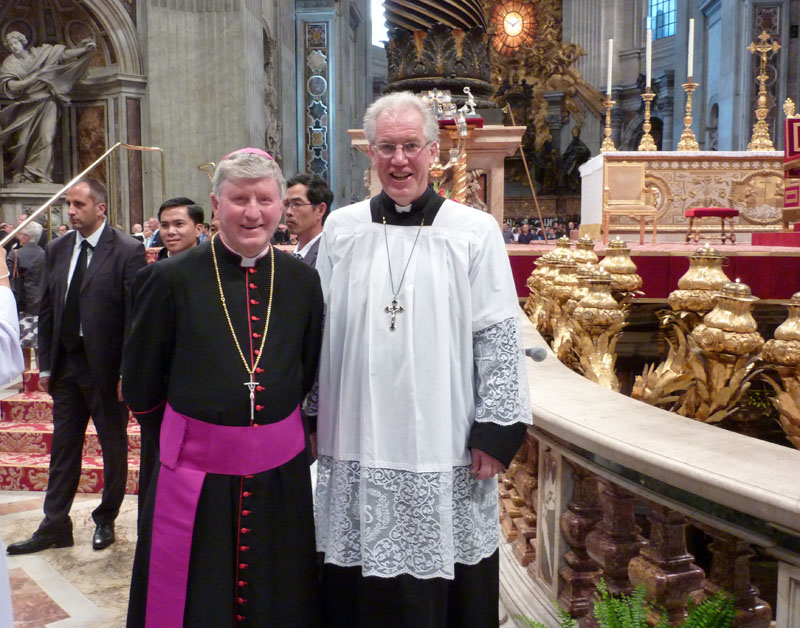 DamianWW.JPG - Fr. Damian Wynn-Williams and his Bishop (Bishop Colin Campbell, of the Otago and Southland Diocese  of NZ) in St Peters just after the mass finished