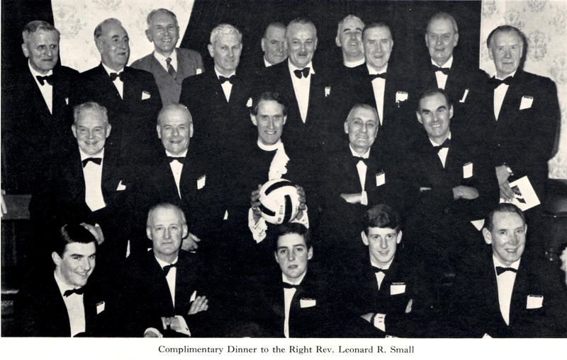 FergusB.jpg - Fergie is 3rd from the right back row This is at the retiral of Leonard Small. All present are members of past and present Edinburgh Uni football teams.