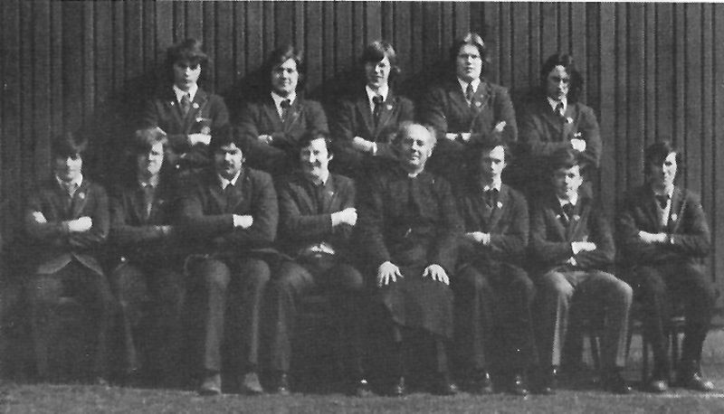 Prefects 1977.jpg - The prefects in 1977 along with Br Livingstone.