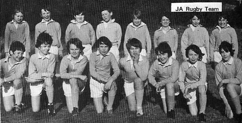 JA Rugby Team 1974.jpg - Rugby Team JA in 1974 from left to right top row are: Gavin Chater, Simon Campbell, Richard Aherene, Paul Gallagher, Micheal Clark, David Gibson, Chris Deery, Joseph Boni. Bottom Row Niall Kenny, Stuart McLauchlan (me), David Hunter, Edward Wilson(Capt), Ernest di Ciacca, Graham Haughey, Peter Main, George Twiss