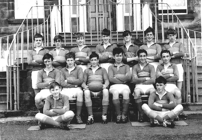 Rugby Team 4.jpg - Rugby Team - Back Row - Len Oliver ? ? ? Allan Aston, ? Jack Kerr, Middle Row - ? Tony Docherty, David Pia, ? Marc Capaldi, Ricky Ford Front - Pat Stephens, Leo Docherty.