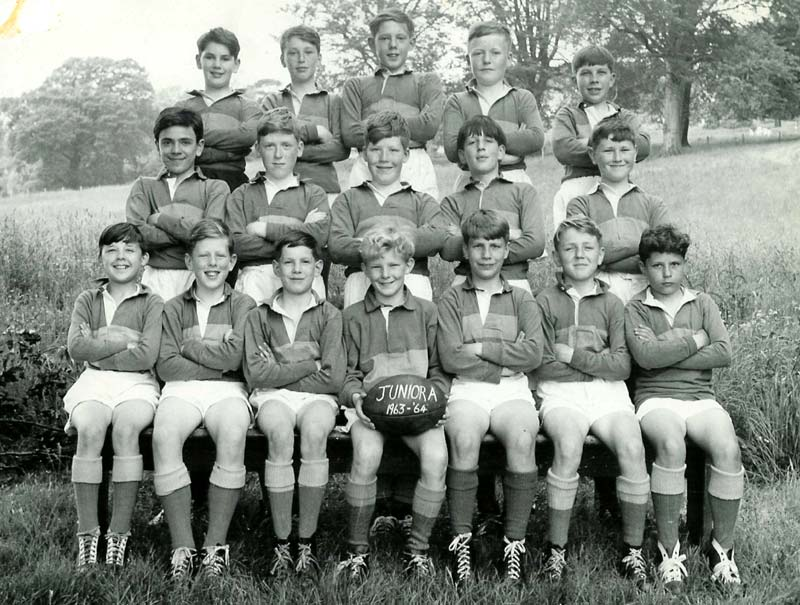 Rugby-Team-1963-64.jpg - Rugby Team from 1963-64 Back Row  - Paul Mulhearn, Barry Smith, Charlie Ross, Tony Heatherington, Michael Afek. Middle Row - Peter DiRollo, Charlie Kerr,  Gerard Teague , Maurice Dougan, Gerald Stone Front Row - Ricky Czarnota , Mike McEwan, Mike Casey, Stephen Saich, Paul Coppola, Stephen Turnbull, John Macari
